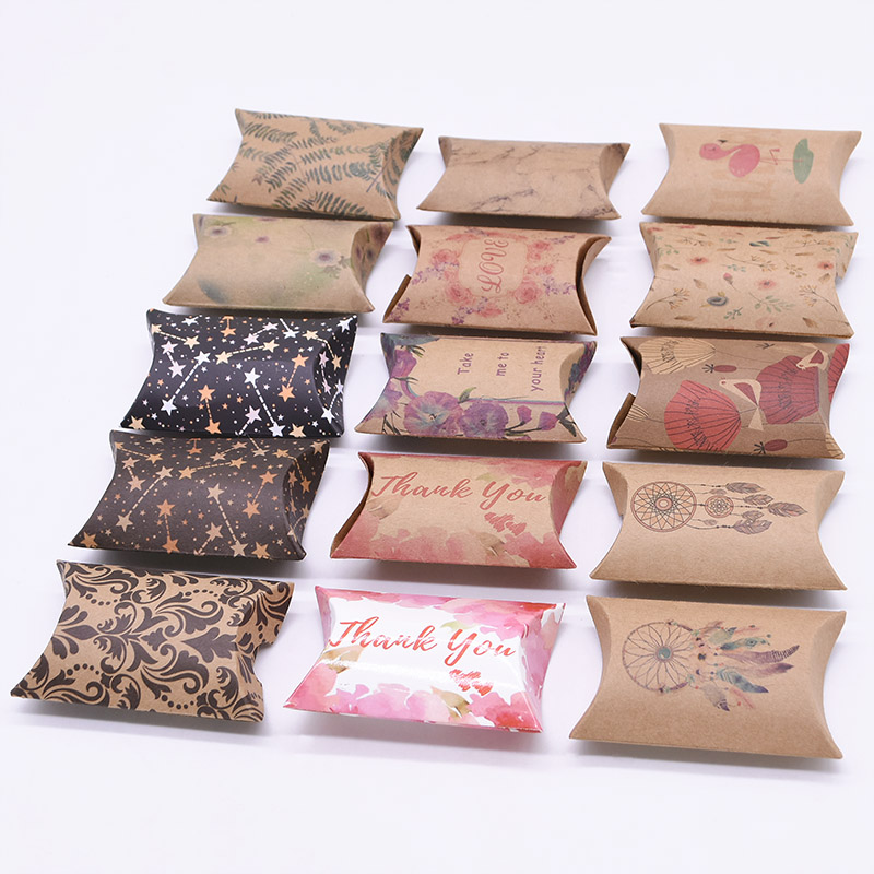 10/20/50pcs Kraft Paper Box Pillow Shape Candy Box Wedding Favor Gift Boxes For Home Baby Shower Kids Birthday Party Supplies