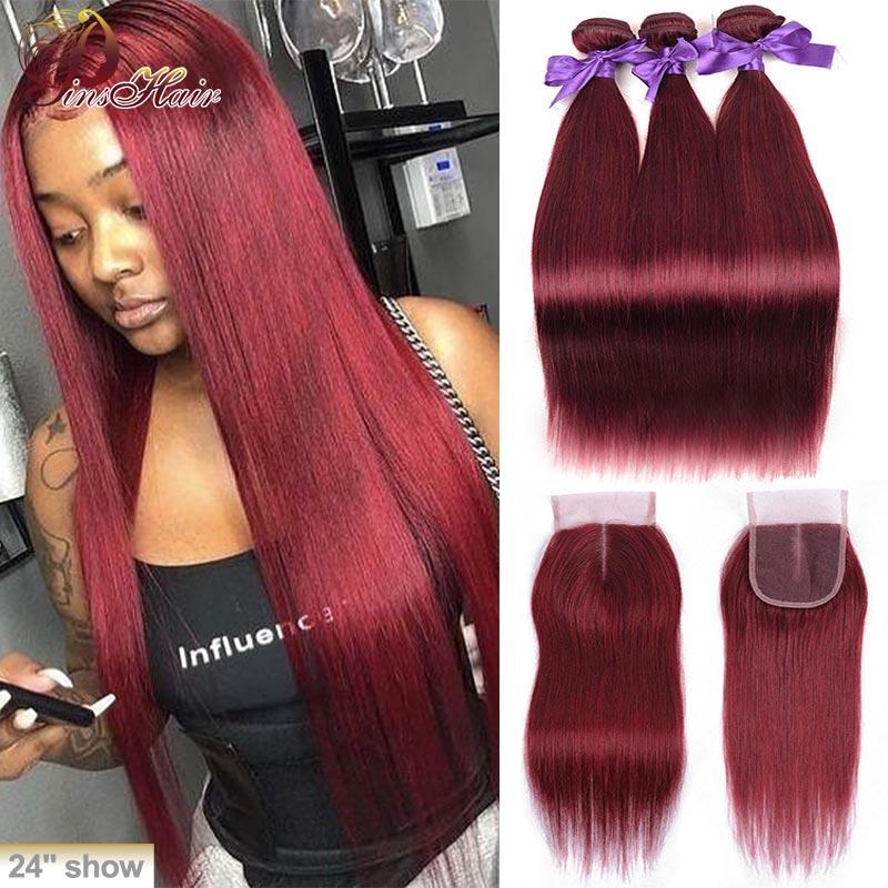 Pacotes de cabelo peruano com fecho vermelho bold 99j cabelo reto 3 pacotes com fechamento borgonha remy cabelo humano tece pinshair