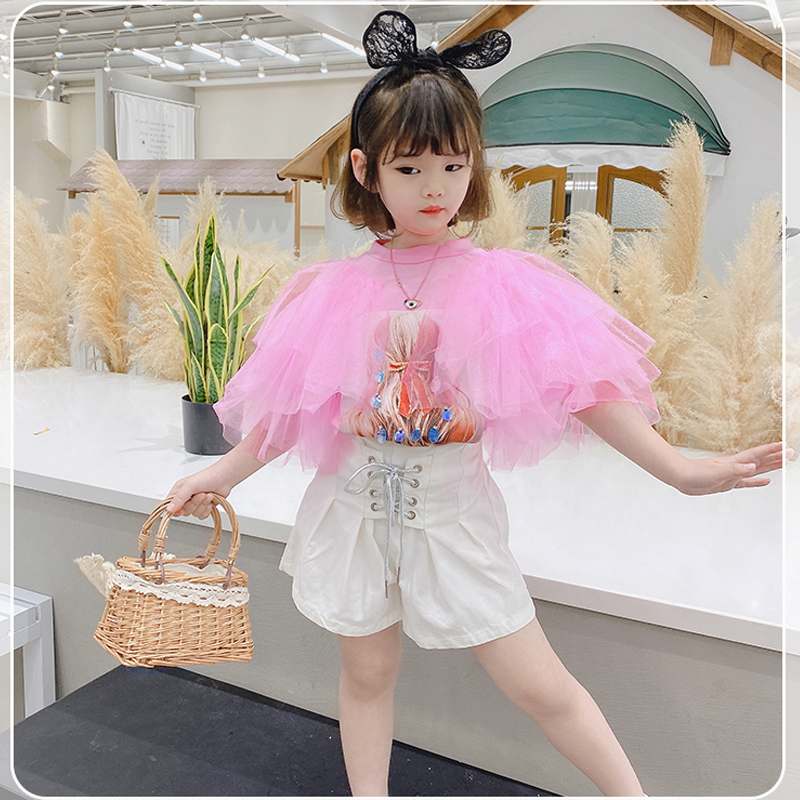 Summer Girls T Shirt Baby Tee Kids Tops Toddler T Shirt Children Streetwear Clothes Fashion Lace Ruched Sleeve Sequin 3 To 8 Yrs