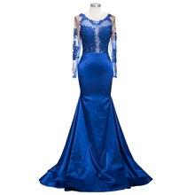 Королевский синий кружева Русалка Вечерние платья Длинные 2020