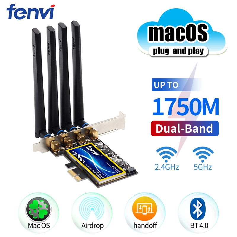 Fenvi T919 BCM94360CD 1750Mbps PCIe Wireless Adapter Handoff MacOS Hackintosh 802 11ac Dual Band 2 4 5Ghz Bluetooth4 0 WiFi Card