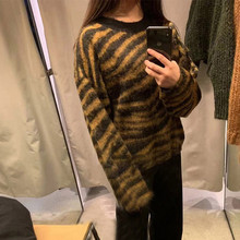 Newest Print Sweater Women Pullover Mohair Korean Long Sleeve Knit Pullovers O-Neck Winter Warm Jumper Tops@8
