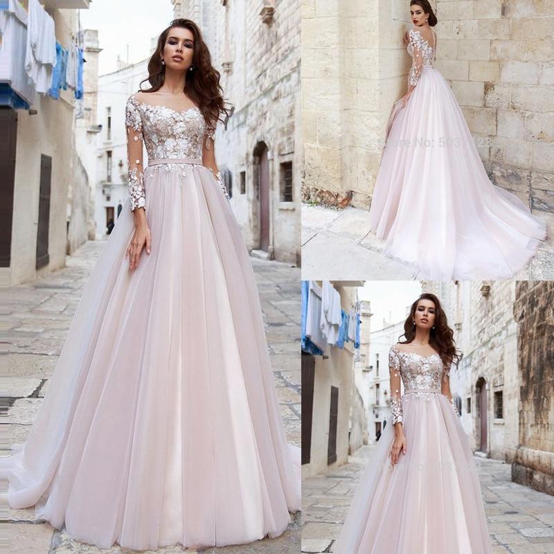 Long Sleeves A-Line Wedding Dresses Scoop 3D Flowers Lace Appliques Court Train Wedding Bridal Gowns Vestido De Noiva