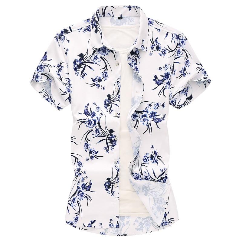 7XL Summer Men Flower Shirt Youth Korean style Plus sized Large Size Printed Shirt Shirt Men's Casual Base Shirt