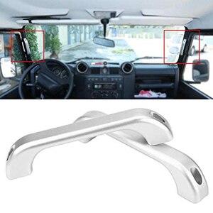 2Pcs Car Interior Chrome Aluminum Alloy Grab Door Handle Cover Trim for Land Rover Defender 110 90 2007-2016
