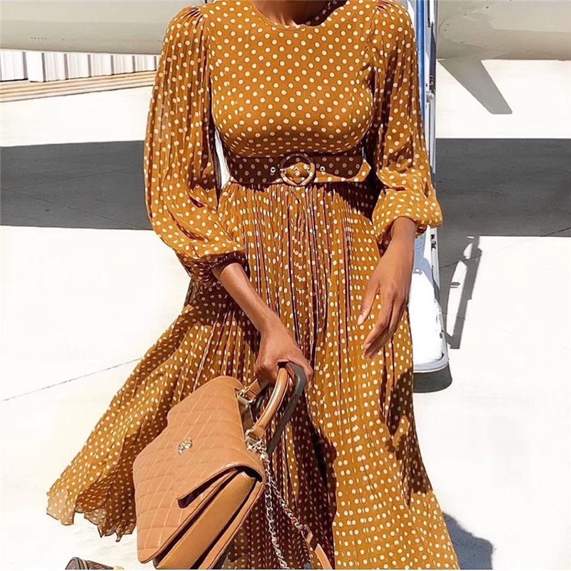 Vintage à pois femmes robe lanterne manches O cou taille haute avec ceintures robes femme robes femme soirée