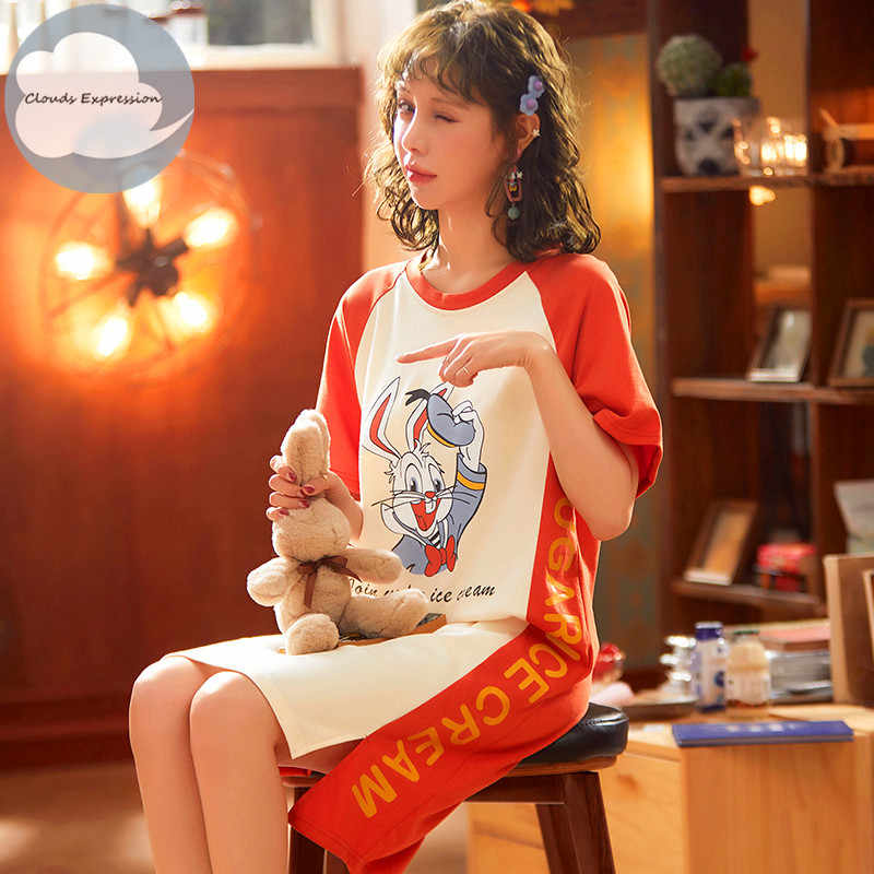 Merk Zomer Nachthemden O-hals Katoen Cartoon Vrouwen Nachtkleding Nachtkleding Plus Size Sleep & Lounge Nachthemd Thuis Jurk Mode
