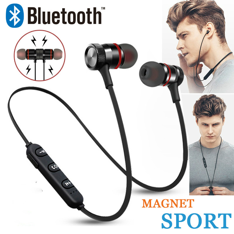 Wireless Bluetooth 4.1 Earphone Sport Neckband Magnetic Headset Metal Handsfree Bass With Mic Stereo Music For Xiaomi All Phones