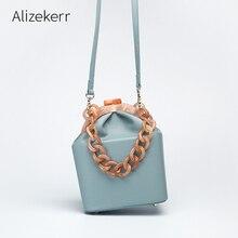 Bolso de mano con Clip de cadena gruesa para mujer, bolsa de mano femenina, de diseñador de lujo, de acrílico, de cubo, de marcas famosas, para chicas