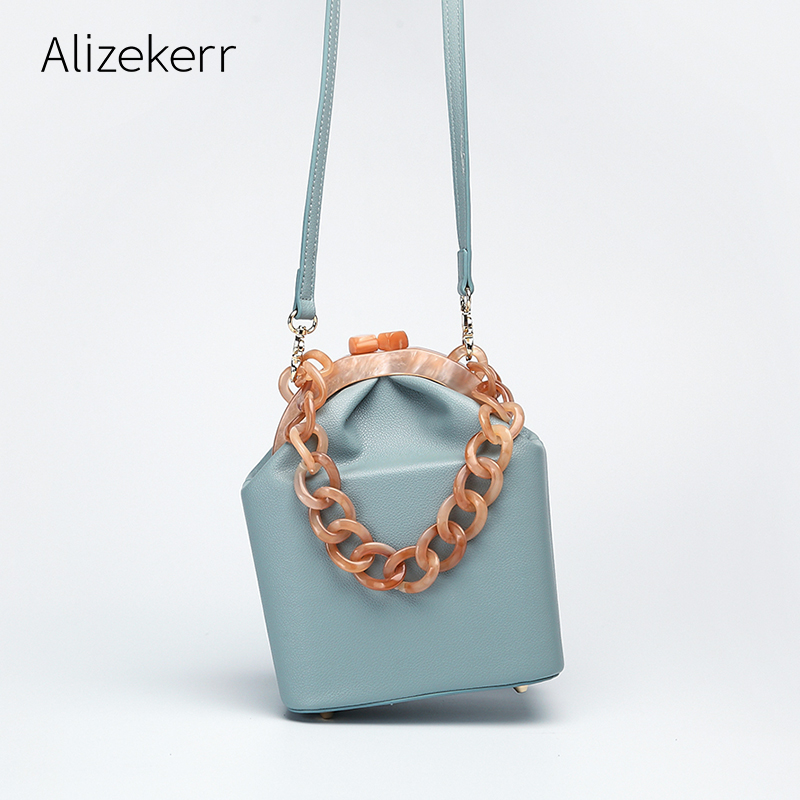 Women Box Bag Handbag Luxury Designer 2019 Acrylic Thick Chain  Clip Bucket Bags Women Famous Brands Purses And Handbag For  GirlsTop-Handle Bags