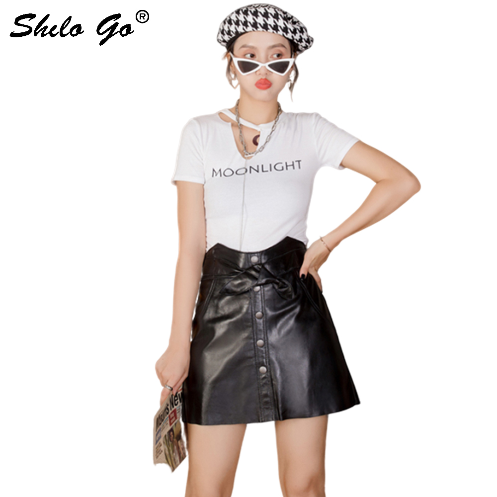 Genuine Leather Shirts Sweather High Waist Single Breasted Sheepskin A Line Skirts Women Autumn Winter Wrap Belted Pencil Skirt