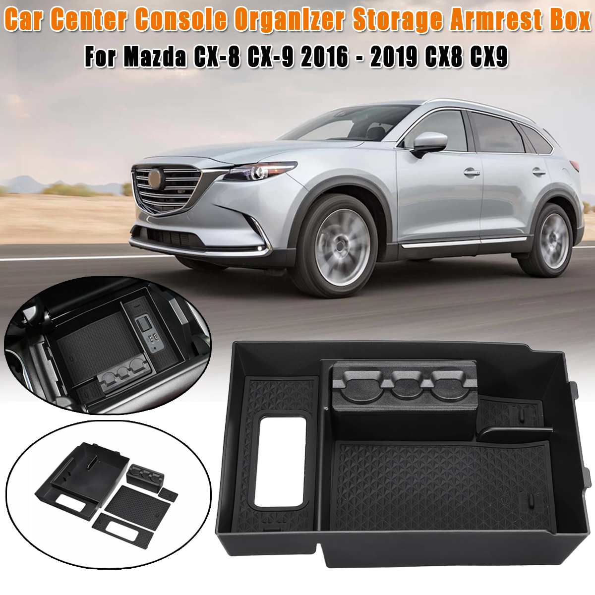 Car central armrest box For <font><b>MAZDA</b></font> <font><b>CX</b></font>-8 <font><b>CX</b></font>-<font><b>9</b></font> 2016-2019 CX8 CX9 Interior <font><b>Accessories</b></font> Stowing Tidying Center Console Organizer image