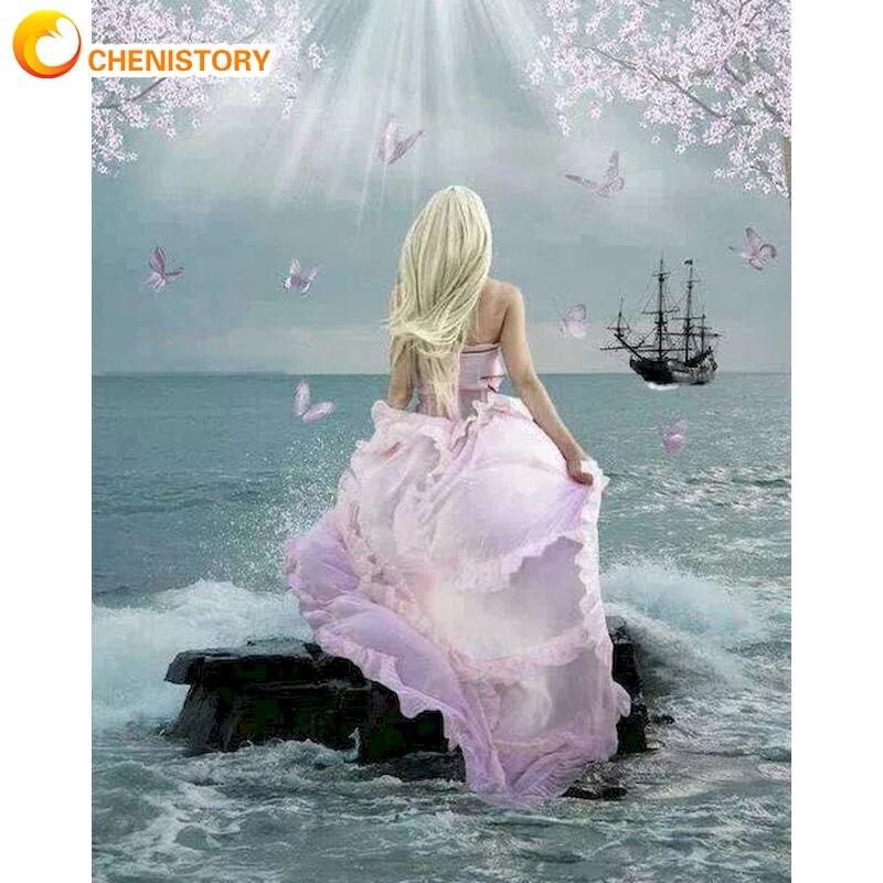 Chenistory розовое платье фигурка девушки искусство картина