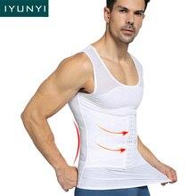 IYUNYI mężczyźni gorset Waist Trainer kamizelka brzuch kontrola pas gorset wyszczuplający brzuch redukcja brzucha pas dla mężczyzn koszulka do fitnessu topowy Tshirt