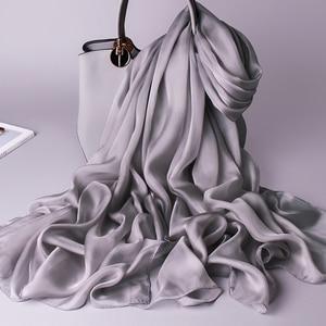 Image 3 - 100% Sciarpa Di Seta Reale Delle Donne Sottile Chiffon di Seta Scialli Involucri per le Signore Solido Fazzoletto Da Collo Hangzhou Naturale Sciarpa di Seta Foulard Femme