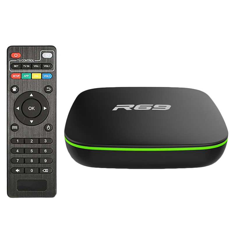 R69 Smart <font><b>Android</b></font> 7.1 <font><b>Tv</b></font> <font><b>Box</b></font> 2,4G Wifi H3 Quad-Core-<font><b>Set</b></font>-<font><b>Top</b></font> <font><b>Box</b></font> 1080P Hd 3D Film media Player Eu-stecker 1Gb 8Gb image