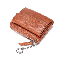 European and American coin purse multi layer leather simple mini zipper coin bag ladies small wallet card holder