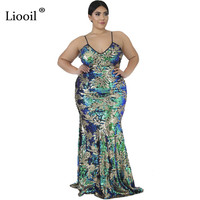 Liooil Green Sequin Plus Size Mermaid Dress Sexy Club Wear Outfits 2019 Sleeveless V Neck Long Maxi Dresses Woman Party Night
