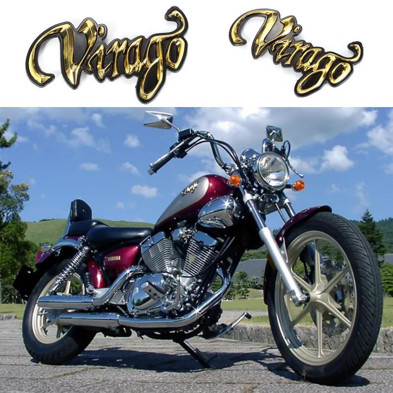 2 Pcs Motorcycle Gold 3D Fuel Gas Tank Badge Emblem Decal Sticker For Yamaha Virago XV 535 750 1000 Gold Highwayhawk NEW