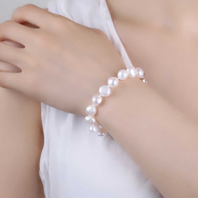 NYMPH Pearl สร้อยข้อมือไข่มุกกำไลเครื่องประดับไข่มุกน้ำจืดสีขาวของขวัญผู้หญิง S007