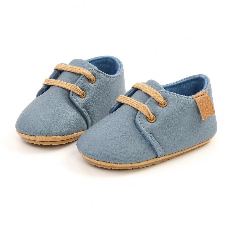 Кожаные Мокасины для новорожденных, Нескользящие, разноцветная обувь в стиле ретро для начинающих ходить мальчиков и девочек, резиновая подошва 2