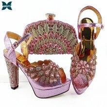 Zapatos y Bolsa africano de diseño italiano para mujer, decorado con diamantes de imitación en Color rosa para fiesta, novedad de 2021