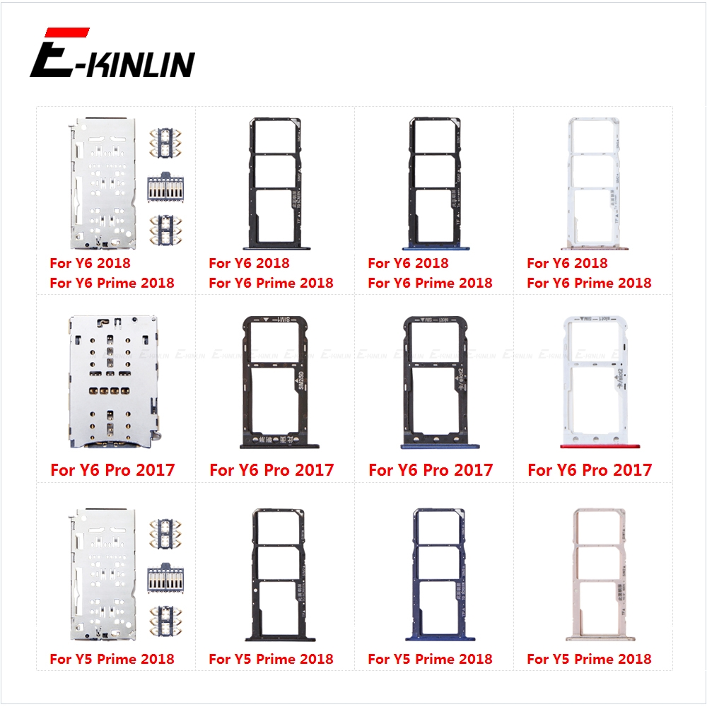 Sim Card Socket Slot Tray Reader Holder Connector Micro SD Adapter Container For Honor Y6 Pro Y5 Prime 2018 2017