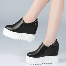 Vulcanized Shoes Women Creepers Cow Leather Wedges Platform Super High Heel Oxfords Trainers Walking Loafers Tennis