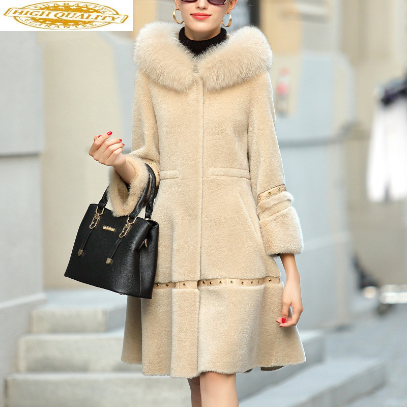 Winter Coat Women Sheep Shearling Real Fur Coat Female Fox Fur Collar 100% Wool Coats Hooded Long Jacket Veste Femme MY