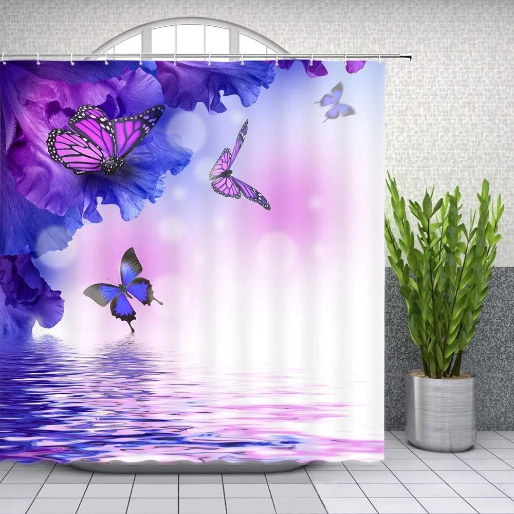 floral butterfly shower curtain bathroom decor blue purple flower plant scenery bath room supplies shower curtains sets