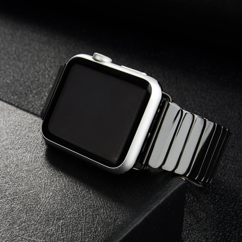세라믹 스트랩 애플 시계 밴드 44 mm 40mm iwatch 밴드 42mm 38mm 럭셔리 스테인레스 스틸 버클 팔찌 애플 시계 5 4 3 2 1워치 밴드시계 -