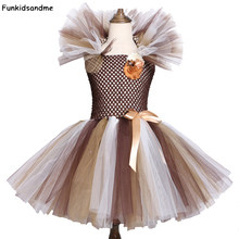Wilden Löwen Mähne Tutu Kleid Braun Blumen Kinder Mädchen Geburtstag Party Kleid Kinder Halloween Cosplay Tier Kleid Kostüme 2-12Y(China)
