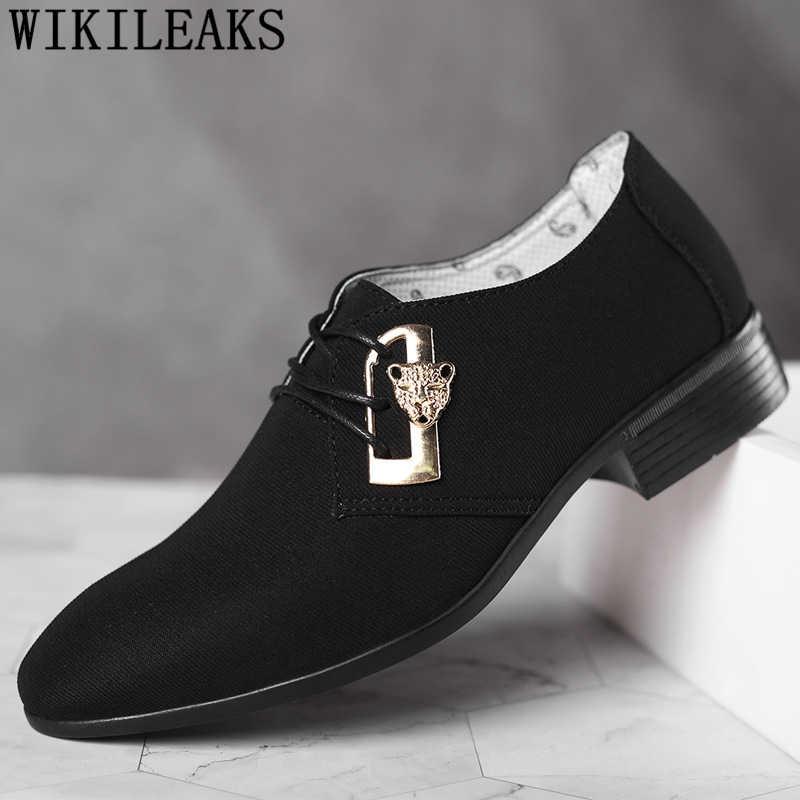 Coiffeur Designer รองเท้าผู้ชายผ้าใบหนังสุดหรูคลาสสิกรองเท้าสีดำ 2020 รองเท้าสำหรับชายขนาดชุด