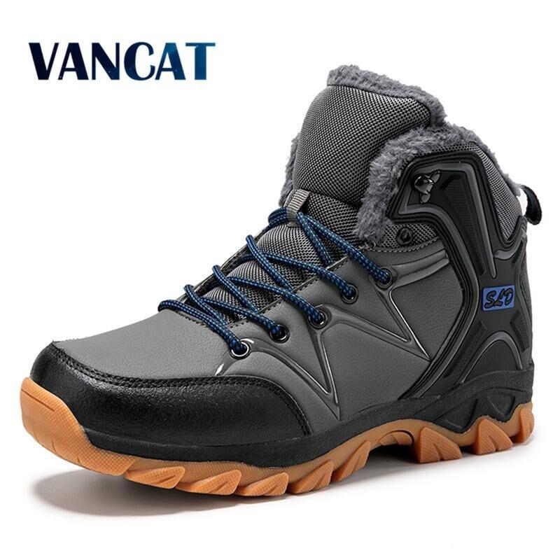 Winter Plush Men Boots 2019 Warm Snow Boots Men Leather Waterproof Winter Boots Work Shoes Men Sneakers Footwear Ankle Boots