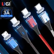 UGI 3A 고속 충전 케이블 자석 케이블 유형 C USB C 마이크로 USB 케이블 안드로이드 휴대 전화 액세서리 삼성 Oneplus