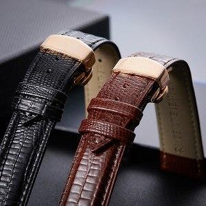 Ремешок для часов Lizard, из натуральной кожи, 16 мм, 18 мм, 20 мм, 22 мм, черный, коричневый