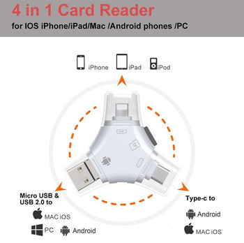 4 IN 1 SD/TF Micro Card Reader 4 in 1 Card Reader Micro USB Type-C for iPhone 11 XS X 5 6 7 8  for iPad Macbook Android