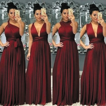 SuperKimJo Burgundy Convertible Bridesmaid Dresses Long Vestido Dama De Honor Chiffon Cheap Wedding Party Dresses