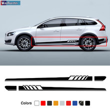 2 adet araba kapı yan etek çizgileri Sticker vücut çıkartması Volvo XC90 XC60 V40 V60 V90 S60 S90 V70 s80 T5 T6 AWD aksesuarları