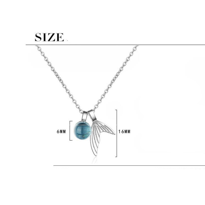 Купить с кэшбэком Trendy Silver Crystal Mermaid Tail Necklaces Pendants For Women Long Chain Choker Fishtail Blue Crystal Glass Chain Necklace