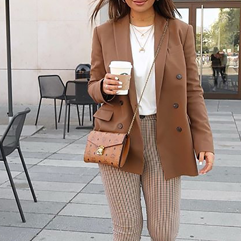 Women Autumn New Classic Solid Blazer Office Lady Elegant V-neck Jacket Coat Brown Long-sleeved Double-breasted Casual OL Blazer