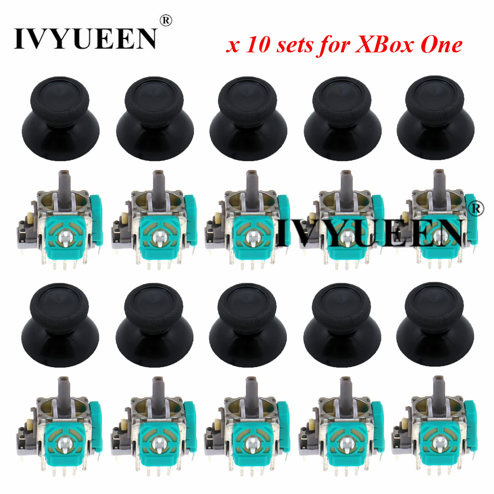 IVYUEEN 10 Sets 3 pin 3D Analog Joystick Stick Sensor Module Potentiometers  amp  Thumbstick Cap for Microsoft XBox One Controller
