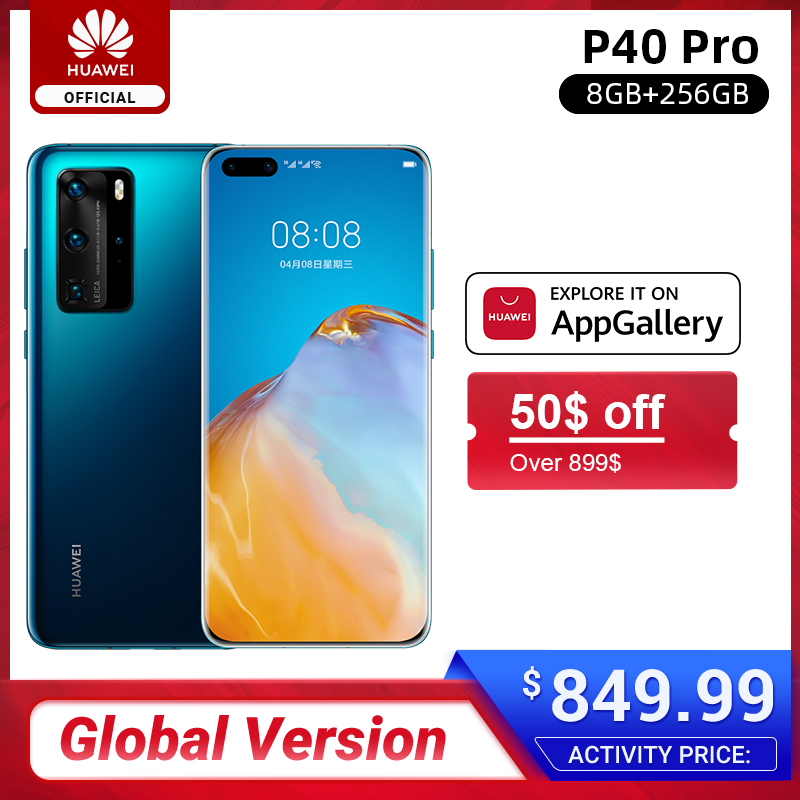 Globale version Huawei P40 Pro 8G 256G Kirin 990 5G Octa Core Smartphone Triple Kamera 6.58 ''bildschirm Aufzurüsten 40W