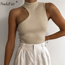 Nadafair Sexy Cut Out Crop Top Women Sleeveless High Neck Off Shoulder White Black 2021 Summer Ribber Casual Tank Tops