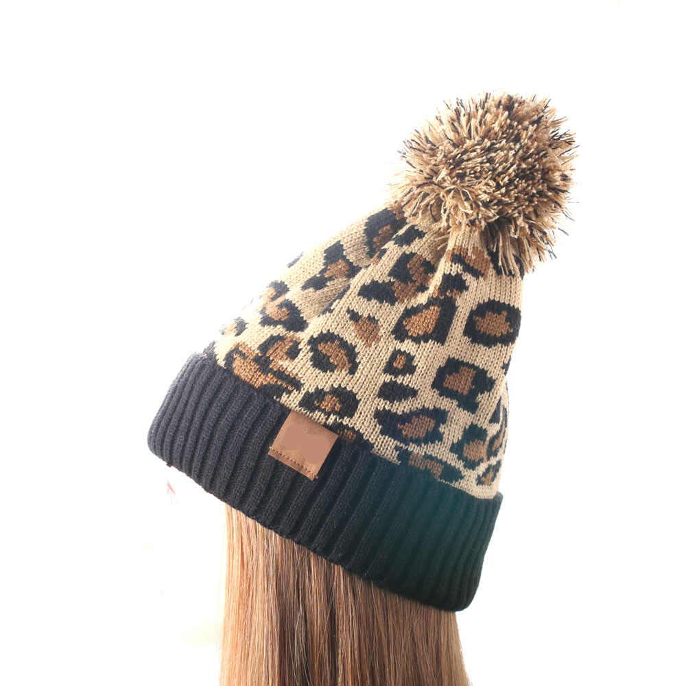 ถัก Leopard Beanie ฤดูหนาวหมวกแฟชั่นผู้ใหญ่ฤดูใบไม้ร่วงหนา Bonnet Skullies Beanie Soft ถักด้วย: