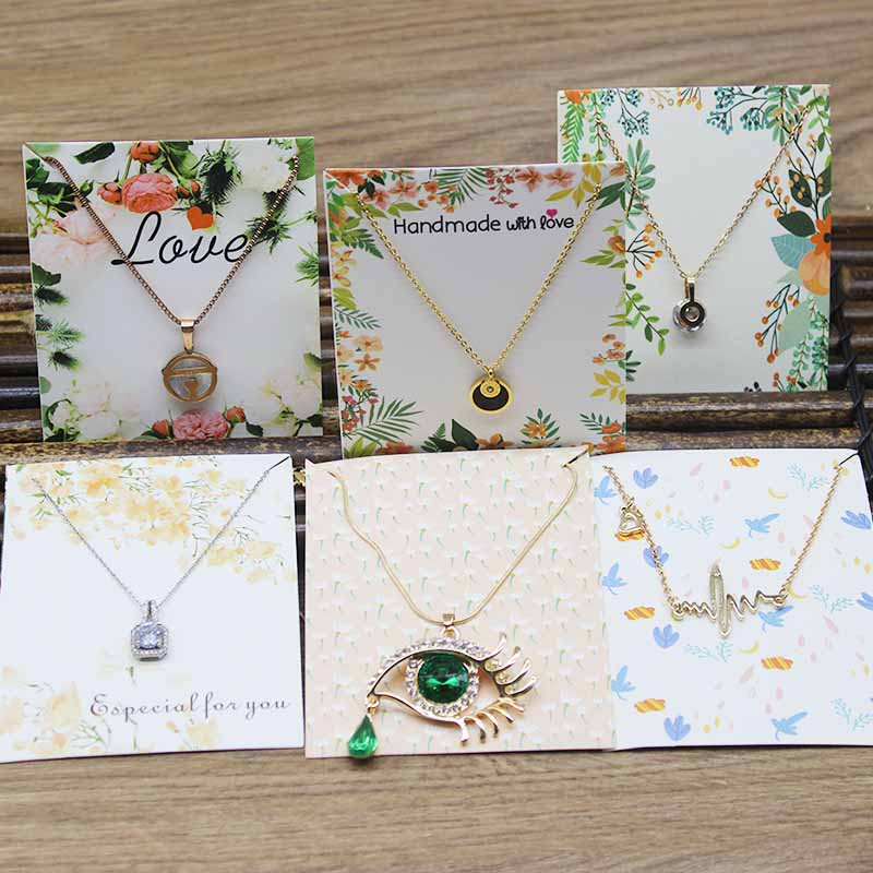 10x8cm DIY Handmade Jewelry Package Tag Card Marbling Flower Pattern Necklace Pendant Packing Card 50pc/25pcs+25oppbag/lot