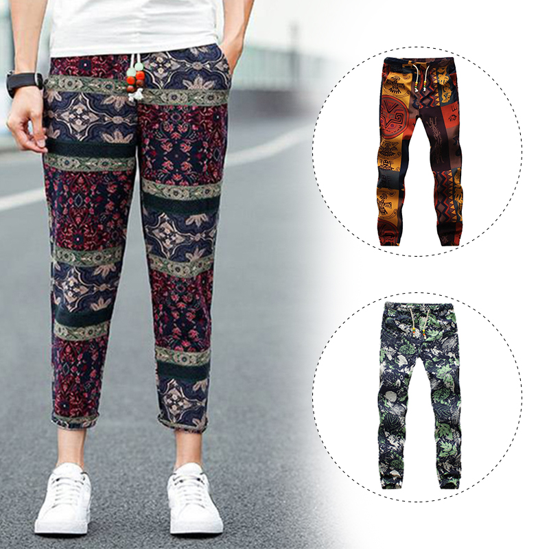 Men Linen Cotton Loose Pants GYM Beach Drawstring Yoga Casual Long Slack Trouser