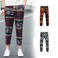 2019 New Fashion Harem Pants Mens Slack Trousers Drawstring Linen Casual Exotic Pattern Hippie Drawstring Linen Cotton Pants