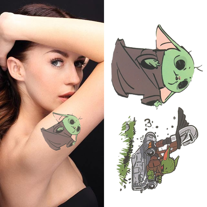 Yoda Star Wars Cartoon Waterproof Tattoos Temporary Tattoo Sticker Man Women Children Fake Tatoo Stickers Body Leg Arm Tattoo