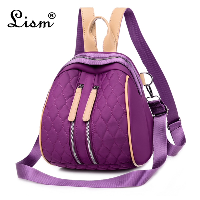 2020 New Backpack Fashion Ladies Checkered Casual Multifunctional Bag Youth Girl College Style Purple Main